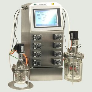 Bioreactor xCUBIO twin - Scale-in-One-design with 0,5 l and 2 l vessel